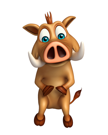 hoof: 3d rendered illustration of Boar funny cartoon character