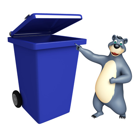 plushy: 3d rendered illustration of Bear cartoon character with dustbin