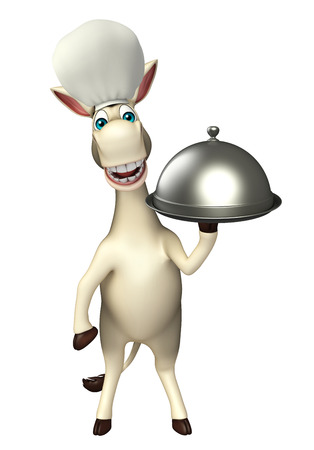 cuteness: 3d rendered illustration of Donkey cartoon character with cloche and chef hat Stock Photo