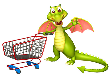 trolly: 3d rendered illustration of Dragon cartoon character with trolly Stock Photo