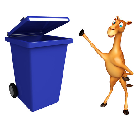 zoo dry: 3d rendered illustration of Camel cartoon character with dustbin