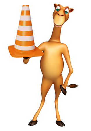 zoo traffic: 3d rendered illustration of Camel cartoon character with construction cone