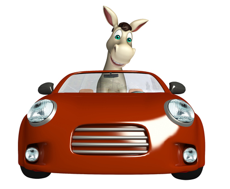 cuteness: 3d rendered illustration of Donkey cartoon character with car
