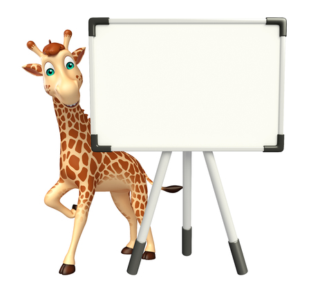 display board: 3d rendered illustration of Giraffe cartoon character with display board