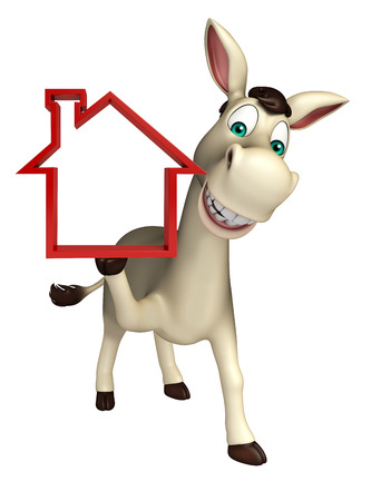 house donkey: 3d rendered illustration of Donkey cartoon character with home sign