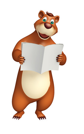 plushy: 3d rendered illustration of Bear cartoon character with news paper