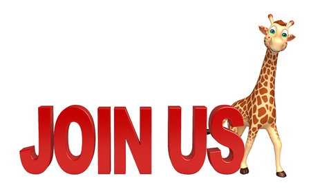 unite: 3d rendered illustration of Giraffe cartoon character with join us sign Stock Photo