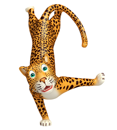 veg: 3d rendered illustration of funny Leopard cartoon character Stock Photo