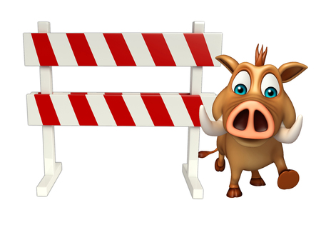 zoo traffic: 3d rendered illustration of Boar cartoon character with baracades Stock Photo