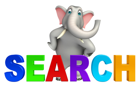 yahoo: 3d rendered illustration of Elephant cartoon character with search