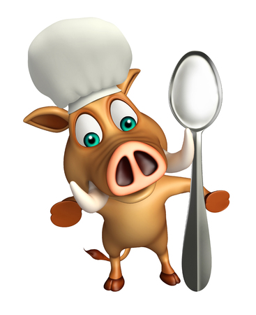 flesh eating animal: 3d rendered illustration of Boar cartoon character with dinner plate and spoon