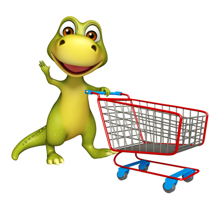 trolly: 3d rendered illustration of Dinosaur cartoon character with trolly Stock Photo
