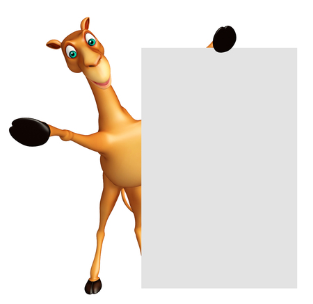 3d rendered illustration of Camel cartoon character with white board Stock Photo