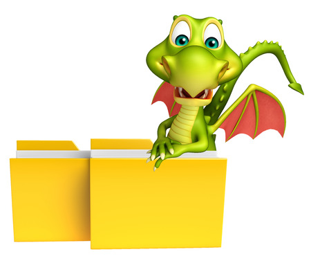3d dragon: 3d rendered illustration of Dragon cartoon character with folder
