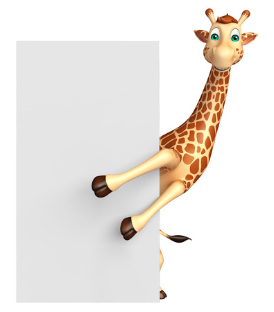 tall grass: 3d rendered illustration of Giraffe cartoon character with  board