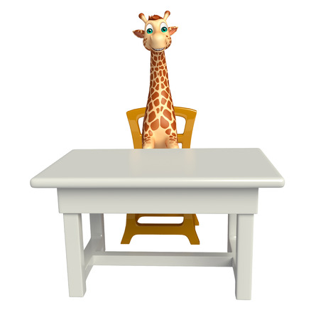 tabletop: 3d rendered illustration of Giraffe cartoon character with table and chair