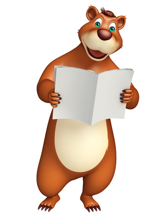 news paper: 3d rendered illustration of Bear cartoon character with news paper