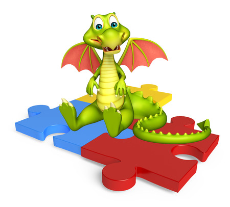 jig saw puzzle: 3d rendered illustration of Dragon cartoon character with puzzle Stock Photo