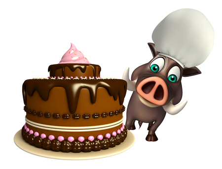 savoury: 3d rendered illustration of Boar cartoon character with cake