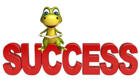 uncertain: 3d rendered illustration of Dinosaur cartoon character with success sign Stock Photo