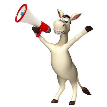 loudspeaker: 3d rendered illustration of Donkey cartoon character with loudspeaker Stock Photo