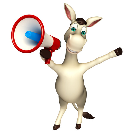 cuteness: 3d rendered illustration of Donkey cartoon character with loudspeaker Stock Photo