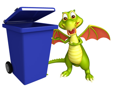 dustbin: 3d rendered illustration of Dragon cartoon character with dustbin