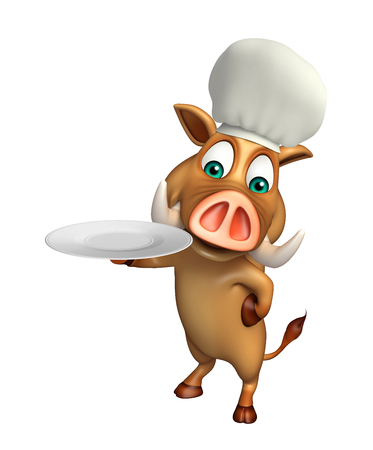 dinner plate: 3d rendered illustration of Boar cartoon character with dinner plate and spoon