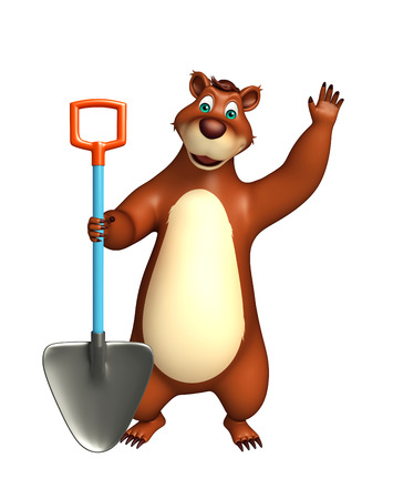 digging: 3d rendered illustration of Bear cartoon character with digging shovel