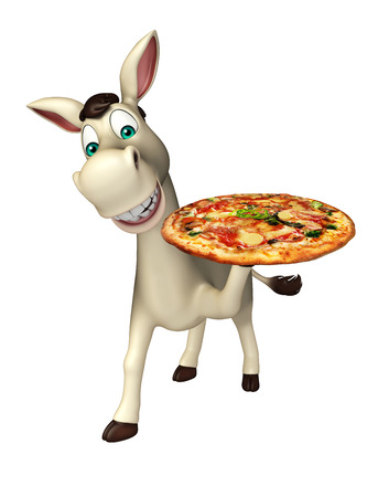 cuteness: 3d rendered illustration of Donkey cartoon character with pizza