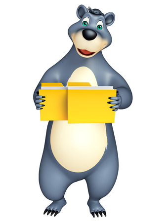 plushy: 3d rendered illustration of Bear cartoon character with folder