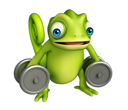 iron fun: 3d rendered illustration of Chameleon cartoon character gim equipment