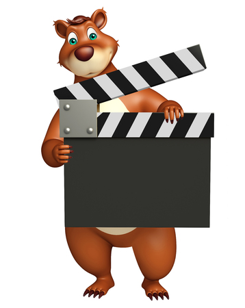 clapper board: 3d rendered illustration of Bear cartoon character with clapper board