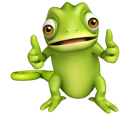 funny cartoon: 3d rendered illustration of Chameleon funny cartoon character