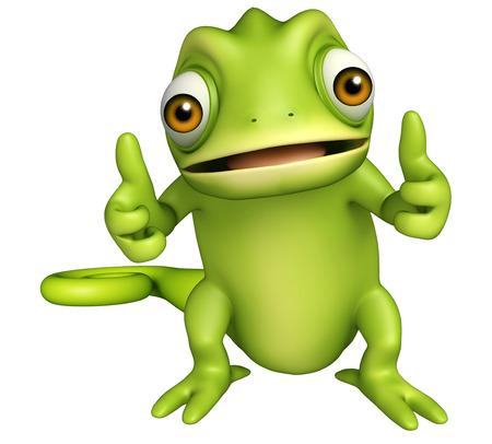 cartoon funny: 3d rendered illustration of Chameleon funny cartoon character