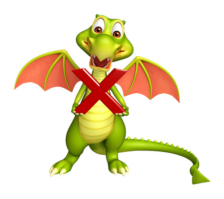 3d dragon: 3d rendered illustration of Dragon cartoon character with wrong sign