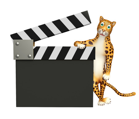 clapboard: 3d rendered illustration of Leopard cartoon character with clapboard
