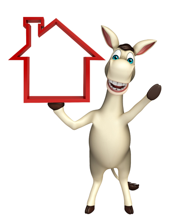 cuteness: 3d rendered illustration of Donkey cartoon character with home sign