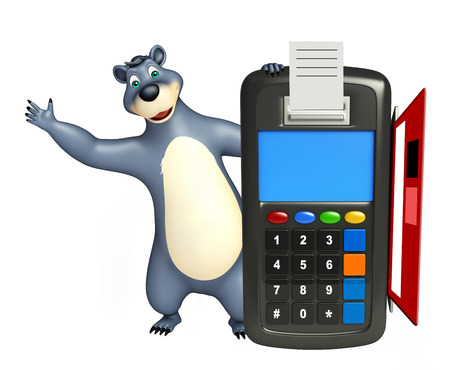 plushy: 3d rendered illustration of Bear cartoon character with swap machine