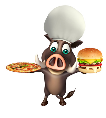 3d rendered illustration of Boar cartoon character with burger and pizza Stock Photo