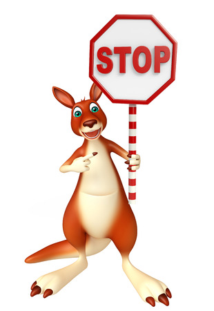 zoo traffic: 3d rendered illustration of Kangaroo cartoon character with stop sign