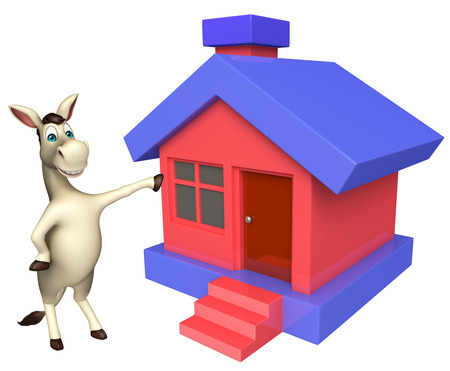 cuteness: 3d rendered illustration of Donkey cartoon character with home