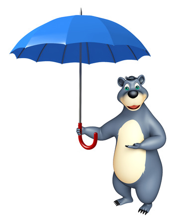 fall protection: 3d rendered illustration of Bear cartoon character with umbrella