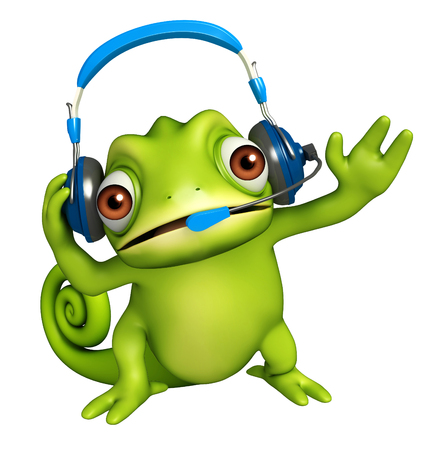 head phones: 3d rendered illustration of Chameleon cartoon character with head phones