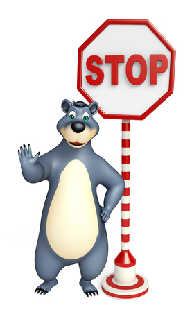 plushy: 3d rendered illustration of Bear cartoon character with stop board