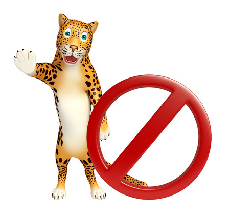 zoo traffic: 3d rendered illustration of Leopard cartoon character with stop sign Stock Photo