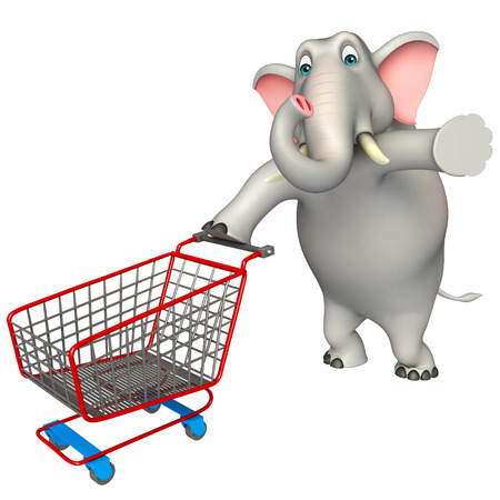 trolly: 3d rendered illustration of Elephant cartoon character with  trolly Stock Photo