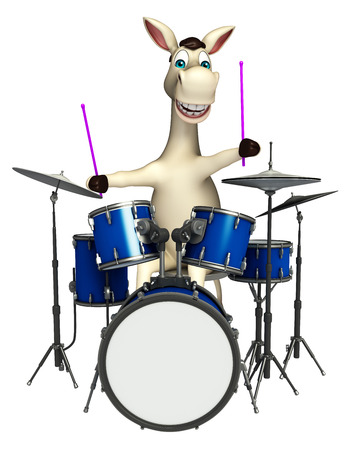 3d rendered illustration of Donkey cartoon character with drum Фото со стока