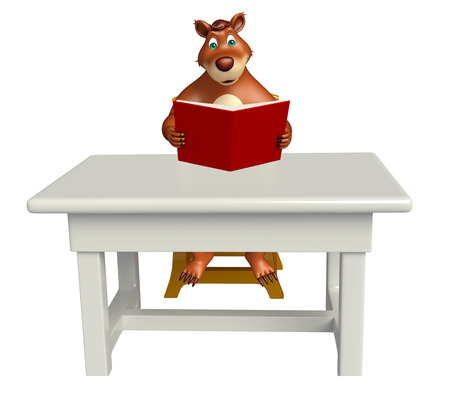 plushy: 3d rendered illustration of Bear cartoon character with table and chair