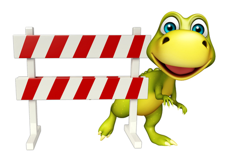 security lights: 3d rendered illustration of Dinosaur cartoon character with baracades